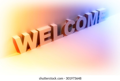 Abstract background with the word welcome.