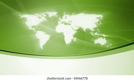 Abstract background with world map, green