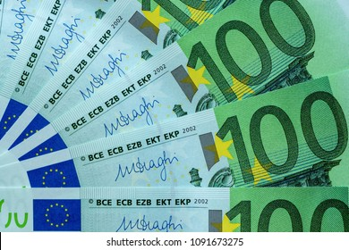 abstract banknote fragment hundred euros for financial background or for wallpaper