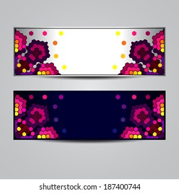 Abstract banners with geometric ornament. Design template can be used for web sites header, blank design, textile, printing and other cases.