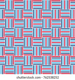Abstract basket weave pattern in red and blue.