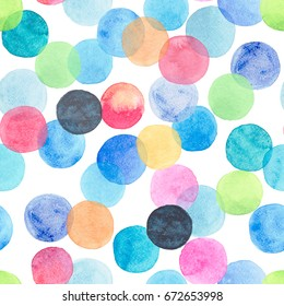 Abstract beautiful artistic tender wonderful transparent bright blue, green, red, pink, yellow, orange, navy circles pattern watercolor hand sketch.