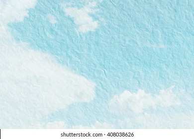 Abstract beautiful cloudscape or blue sky  for background. Illustration on textured vintage paper.