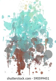 abstract beautiful color trickle paint like on white  background