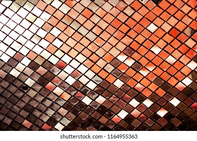 Abstract beautiful of Reflective Mosaic Silver tiles wall texture, Silver glitter wall , Silver glitter mirror on decorative wall. Silver Mosaic pattern of tiles at the Thai temple. Selected focus.