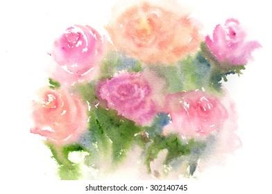 Abstract beautiful roses on white; watercolor illustrator