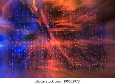 Abstract beautiful unusual background and  of printed circuit board