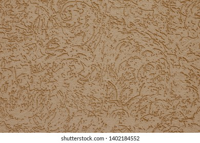 Abstract beige background for decorative design. Painted paper texture. Pattern, minimal concept. Rough wall surface. Tracery, light brown ornament plaster on concrete wall. Texture of ribby stucco.