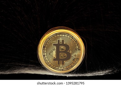 Abstract bitcoin with fire lines