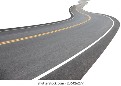 Abstract black asphalt winding Road transport going to the distance with yellow line drawing separated two way of forward and backward, isolated on white background.  This has clipping path.
