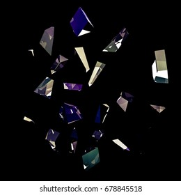 Abstract black background with glass shards and glitter. 3d illustration, 3d rendering.
