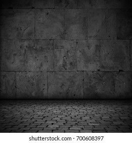 abstract black background or stone plate and pavement texture, stage