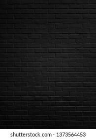 Abstract Black brick wall texture for pattern background.