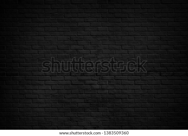 Abstract Black brick wall texture for pattern background. wide panorama picture.
