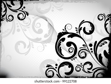 an abstract black colored floral design