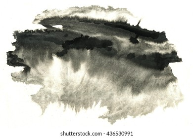 Abstract black ink stain. Chinese ink background on watercolor paper.