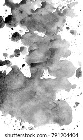 Abstract black ink stains on white background. Monotyped texture.