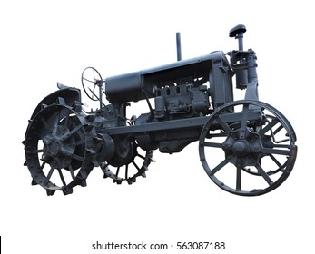 Abstract black old tractor isolated over white background