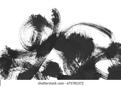 Abstract black paint brush strokes isolated over white