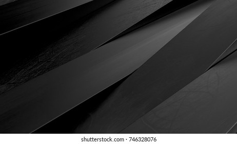 Abstract black panels 3D background. render illustration