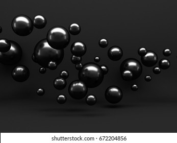 Abstract Black Shiny metallic Spheres Background. 3d Render Illustration
