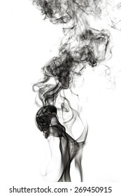 Abstract black smoke on white background.
