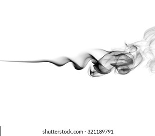 Abstract black smoke swirls on white background. Photo.
