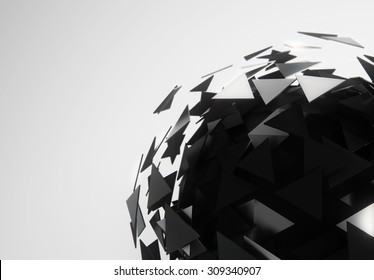 Abstract black sphere 3d rendering of low poly. Futuristic concept background in gray space. Futuristic Sci-fi shape and concept