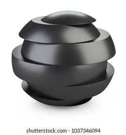 Abstract black sphere slice into pieces with shift. Cut steel ball. 3d illustration over white background.