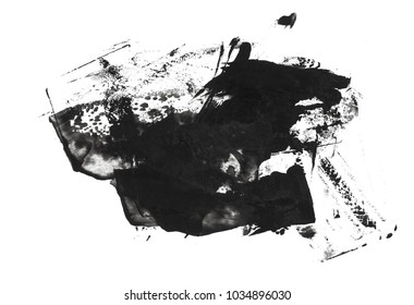 abstract black stain brush stroke isolated on white background