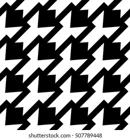 Abstract black and white background, geometric seamless pattern, raster illustration