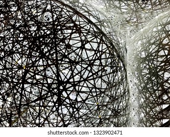 Abstract black and white background openwork pattern.