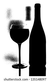 Abstract black and white conceptual  photo of wine  glassware