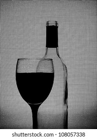 Abstract black and white design made of  glass and wine bottle on window screen background.