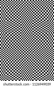 Abstract Black and White Geometric Pattern with Squares. Contrasty Optical Psychedelic Illusion. Chessboard Wicker Structural Texture. Raster Illustration