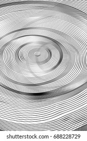 Abstract Black and White Geometric Pattern with Circles. Spiral Striped Psychedelic Texture. Raster Illustration