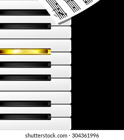 abstract black, white, golden piano keys and note