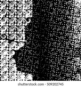 Abstract black and white grunge background with spiral motif. Swirl pattern.