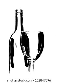 Abstract black and white line wine glassware background  design.