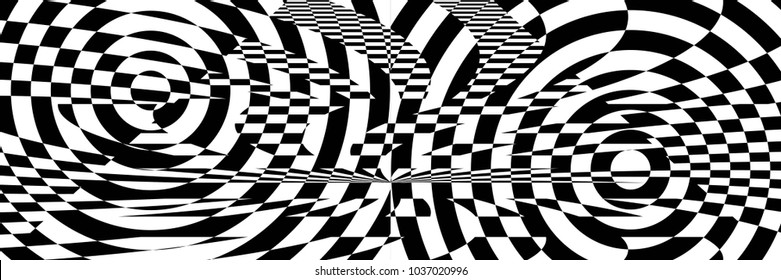 Abstract Black and White Panoramic Geometric Pattern with Circles. Contrasting Optical Psychedelic Illusion. Spiral Wicker Structural Texture. Raster Illustration