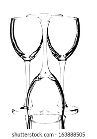 Abstract black and white wine glassware background design.