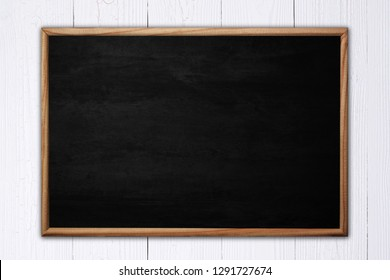 Abstract blackboard or chalkboard with frame on wooden background. empty space for add text.