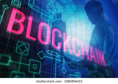 Abstract blockchain wallpaper. Cryptocurrency and finance concept. Double exposure