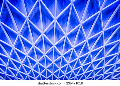 Abstract blue architecture of a ceiling at London King's Cross train station