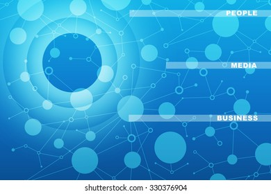 Abstract blue background with circles and words