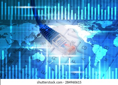 Abstract blue background with computer cable, world map and keyboard