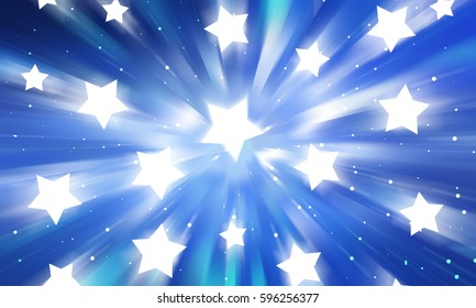Abstract blue background. Explosion star. illustration digital.