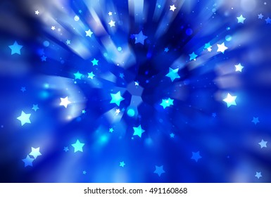 abstract blue background. fractal explosion star with gloss and lines. illustration beautiful.