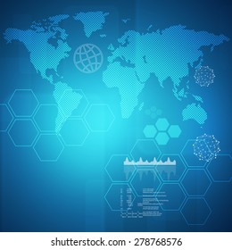 Abstract blue background with virtual world map