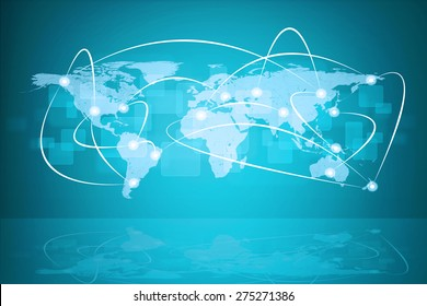 Abstract blue background with world map, connected points and reflection